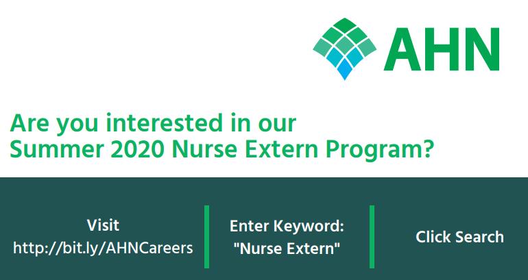 AHN Nurse Externships - Applications Open for Summer 2020